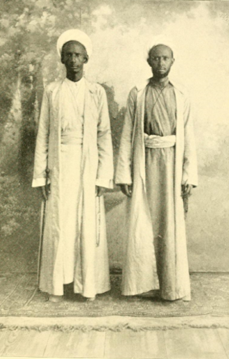 Dervish movement (Somali) - Dervish Khususi, Haji Sudi on the left with his brother in-law Duale Idres. Aden, 1892.