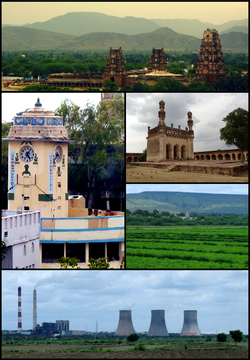 Kadapa District MontageClockwise from top left: Kodanda Rama Temple Complex at Vontimitta, A Mosque at Gandikota Fort, Landscape View in rural kadapa District along Palkonda Hills, Rayalaseema Thermal Power Station (RTPS), A Clock Tower in Kadapa City