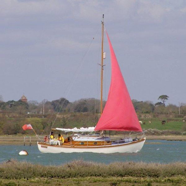 on the final stretch of the Beaulieu River, between Needs Ore Point and Lower Exbury, on its way out to the Solent. The tower in the background is at Lower Exbury House.