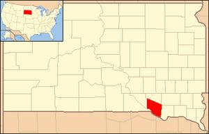 Yankton Indian Reservation - Location of the Yankton Indian Reservation within the US state of South Dakota