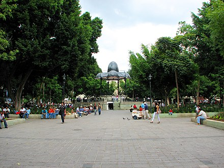 Kiosk and gardens located in the Zocalo Zocalo a Oaxaca.jpg