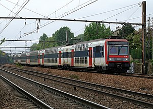 "Commuter rail - A Z 20500 train from Paris's RER line D running an old ""ZYCK"" (now renamed ""ZUCO"") route towards Melun"