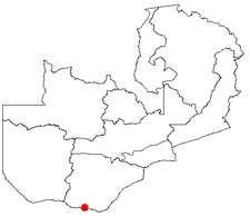 Location of Livingstone in Zambia