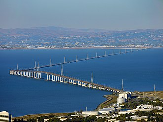 San Mateo–Hayward Bridge - Aerial view of the San Mateo–Hayward Bridge, with Foster City in the foreground
