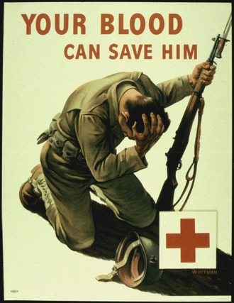 "Blood donation poster, WWII. ""YOUR BLOOD CAN SAVE HIM"" - NARA - 516245.tif"