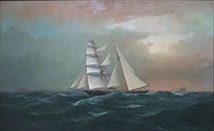 'Brigantine William G. Irwin off Diamond Head', oil on canvas painting by Gideon Jacques Denny.JPG