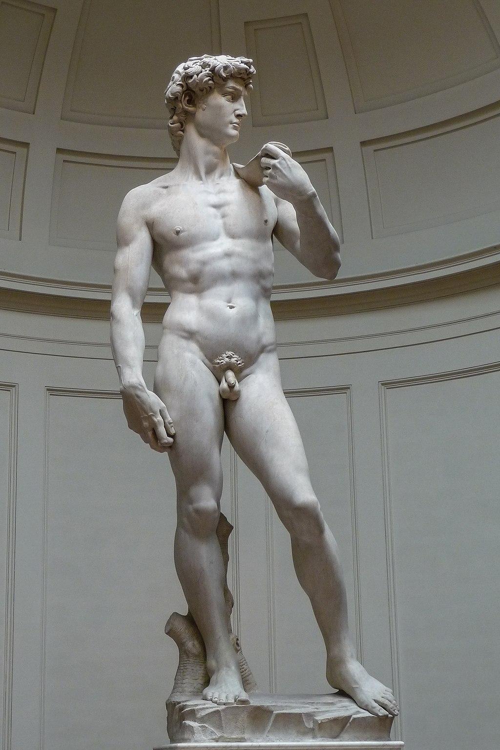 En la versión de Miguel Ángel de la historia bíblica de David y Goliat solo aparece el joven retador. Sin embargo, su mirada concentrada y valiente revela la presencia del gigante