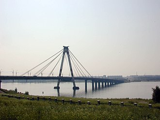 Cherepovets - The Oktyabrsky Bridge, the first cable-stayed bridge in Russia (1979)