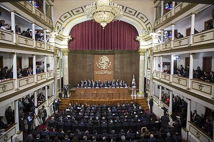 Commemoration of the 100 year anniversary of the Constitution at the Teatro de la Republica, Santiago de Queretaro on 5 February 2017. 100 Aniversario de la Promulgacion de la Constitucion.jpg