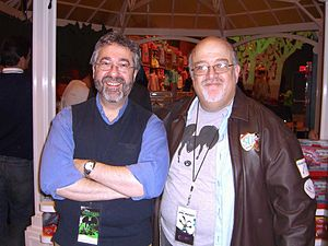 Epic Mickey - Designer Warren Spector with writer Peter David, who wrote two of the game's tie-in products, at the game's November 30, 2010 Times Square Disney Store launch party.