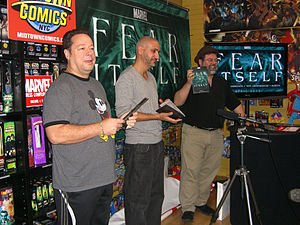 Fear Itself (comics) - Joe Quesada, Axel Alonso and Tom Brevoort announcing the storyline at Midtown Comics Times Square, December 21, 2010.