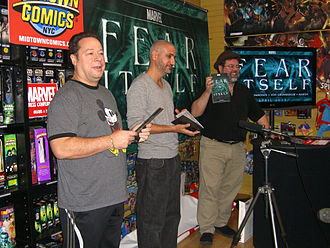 Fear Itself (comics) - Joe Quesada, Axel Alonso and Tom Brevoort announcing the storyline at Midtown Comics Times Square, December 21, 2010