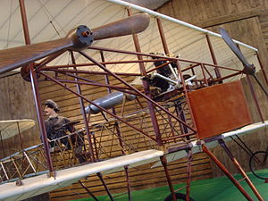 Caproni Ca.1 (1910) - The original Ca.1 is on display at the Volandia aviation museum, not far from Malpensa Airport. Note the fan engine, the fuel tank, the twin pulling propellers and the pilot's position.