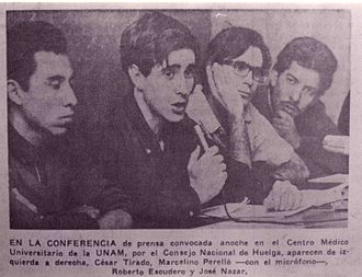 Tlatelolco massacre - A meeting of the UNAM council that organized the student movement and demonstrations, taken on October 5, 1968.