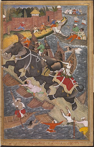 "Pontoon bridge - Mughal emperor Akbar the Great riding the ferocious elephant Hawa'i, pursuing another elephant across a collapsing bridge of boats (left), in Basawan and Chetar Munti's ""Akbar's Adventure with the Elephant Hawa'i"", dated 1561"