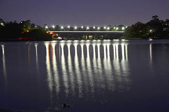 Lane Cove River - Lane Cove River at night, showing the Fig Tree Bridge