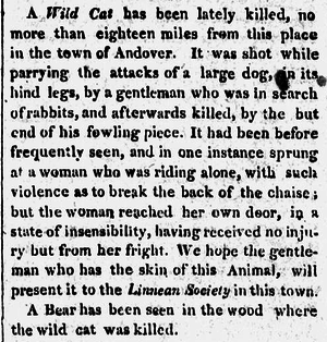 Linnaean Society of New England - Item in the Boston Weekly Messenger, 1817, on a recently killed wildcat, suitable for donation to the Linnaean Society