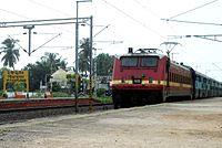 18464 Prashanti Express enters Pithapuram railway station 01.jpg