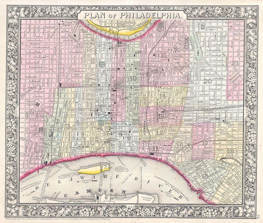 file 1864 mitchell plan or map of philadelphia