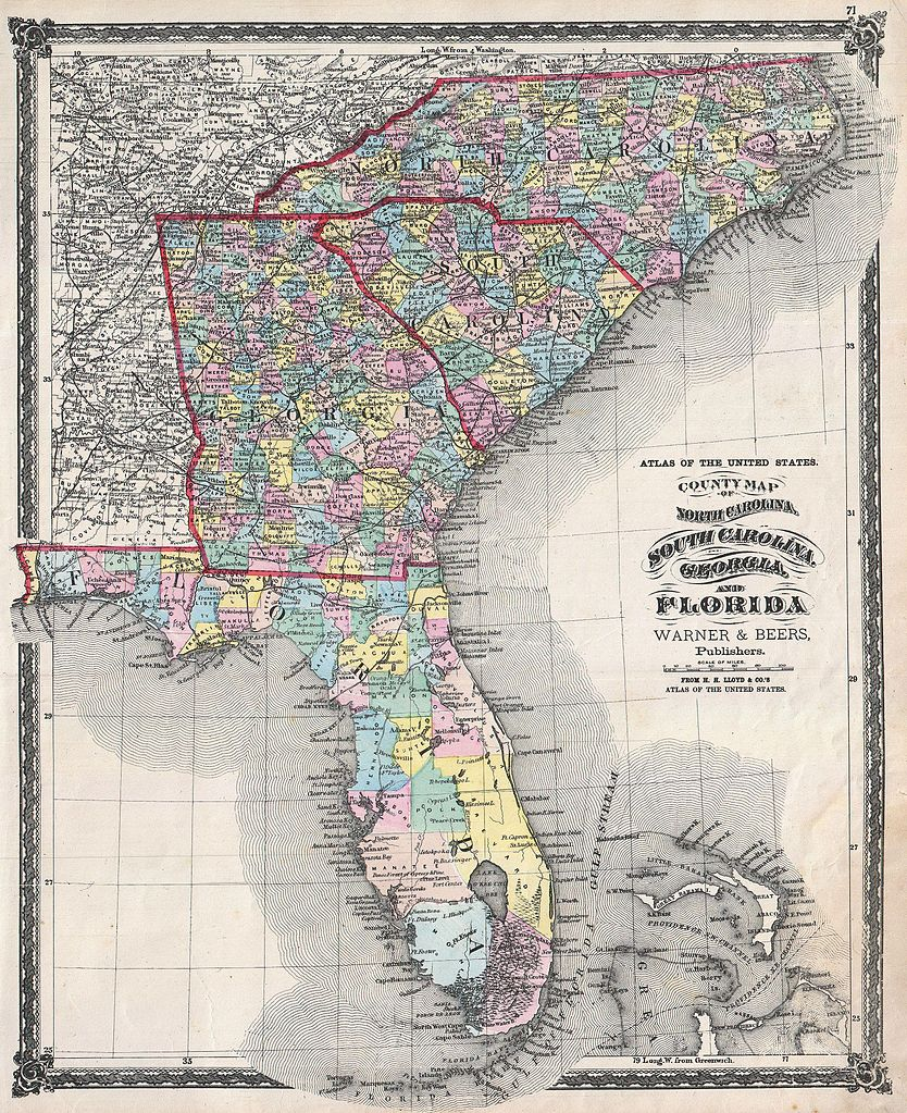 File 1874 Beers Map of Florida Georgia North Carolina and South