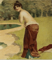 1901 Topless woman near woods and pond.png