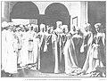 1908-04-23, Actualidades, Alfonso XIII con el capítulo de Santiago en el trascoro de la iglesia de las Comendoras, Madrid, Cifuentes.jpg
