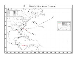 Atlantic hurricane reanalysis project - Reanalyzed 1911 Atlantic hurricane season