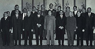 Afghanistan–China relations - King Mohammed Zahir Shah and the visiting Afghan delegation with Mao Zedong, Liu Shaoqi, Zhou Enlai and the Chinese leadership in Beijing on November 1, 1964.