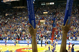 Supporters of the Kansas Jayhawks men's basketball celebrate Late Night at the Phog with thundersticks. 20081017 Kansas Midnight Madness thundersticks.jpg