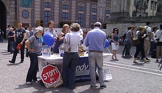 Party of Reason - Party of Reason information booth about the European Stability Mechanism (ESM), Munich, June 2012.
