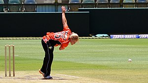 Katherine Brunt - Brunt bowling for Perth Scorchers, 2015