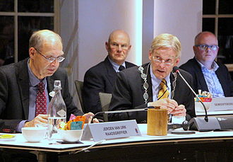 Burgomaster - Session of the council of the community Oude IJsselstreek, eastern Netherlands: mayor Steven de Vreeze (right) as chairman of the council.