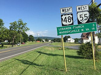 U.S. Route 48 - View west along US 48 and SR 55 in Virginia