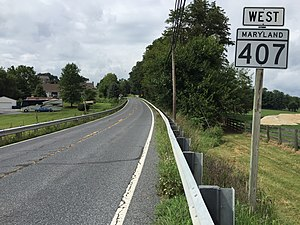 Maryland Route 407 - View west along MD 407 in Marston