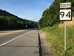 West Virginia Route 94 - View south along WV 94 at I-64/I-77 in Marmet