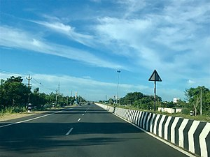 East Coast Road - Image: 2017 four lane state highway SH 49 Tamil Nadu India