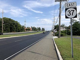 Island Heights, New Jersey - Route 37 eastbound along the north edge of Island Heights