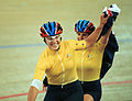 231000 - Cycling track Tania Modra Sarnya Parker Australian flag 4 - 3b - 2000 Sydney race photo.jpg
