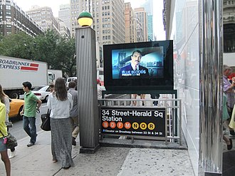 34th Street–Herald Square (New York City Subway) - The station entrance as seen in 2013 (note: the W train now also stops here)
