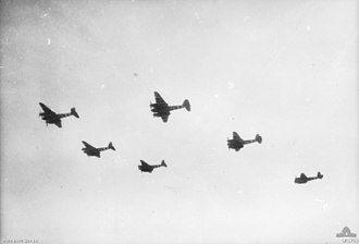No. 464 Squadron RAAF - No. 464 Squadron Mosquito aircraft setting out on a mission over France in August 1944