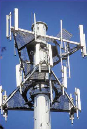 Cell phone base station antennas 6 sector site in CDMA.jpg