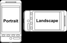Un smartphone en mode portrait et en mode paysage (landscape en anglais).