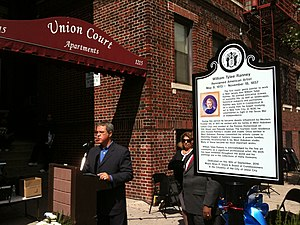 William Ranney - Union City, New Jersey Commissioner Lucio P. Fernandez at the September 18, 2010 dedication ceremony of the William Ranney historical marker, placed where Ranney's home once stood.