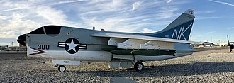 "Naval Air Station Fallon - A VA-97 A-7 Corsair II at Naval Air Station Fallon Nevada USA Air Park Museum that was on the USS Coral Sea flown by Vice Admiral Andrew L. Lewis ""Woody"""