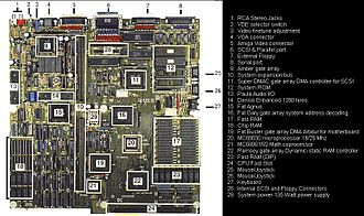 Amiga custom chips - Amiga 3000 motherboard showing various custom chips