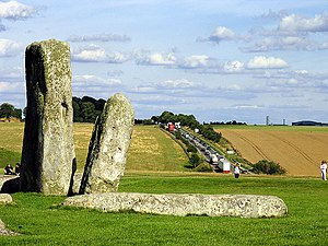 A303 road - Part of Stonehenge, with the A303 in the background