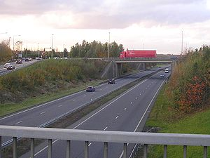 A5 road (Great Britain) - The A5 dual carriageway bypass through Milton Keynes, shown here looking north through its junction with the A509 road