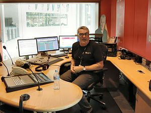 ABC Radio Perth - Geoff Hutchison, presenter of the Morning programme, in the 720 ABC Perth radio studio (The Wally Foreman Studio, Radio Studio 600)