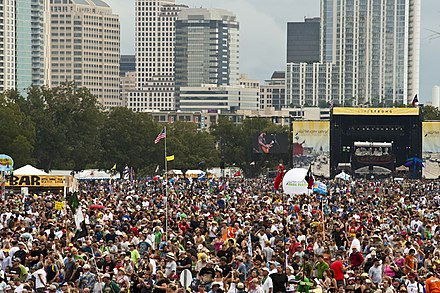 2009 Austin City Limits Music Festival with view of stages and Downtown Austin ACL2009SBH.jpg