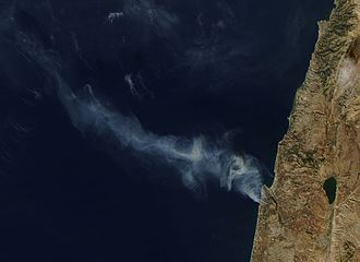 Mount Carmel forest fire (2010) - A view from NASA's Aqua satellite taken on December 3, 2010